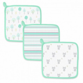 Детские мочалки SwaddleDesigns Washcloth Muslin Green Woodland